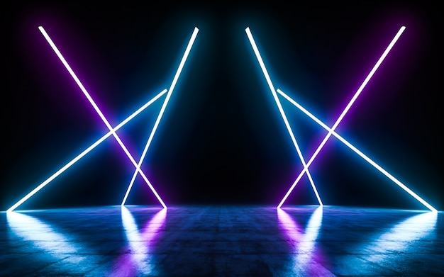 Futuristic sci fi blue and purple neon tube lights glowing with reflections empty space.