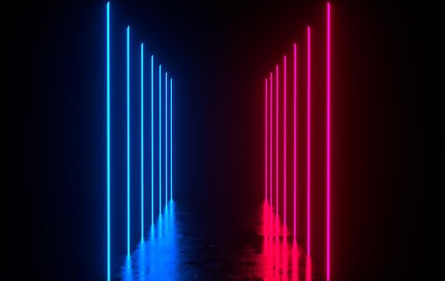 輝くネオンのある未来的なsfコンクリートの部屋