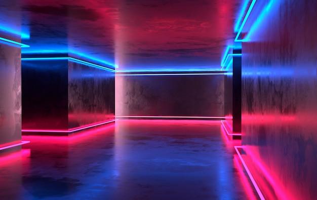 輝くネオンのある未来的なsfコンクリートの部屋。