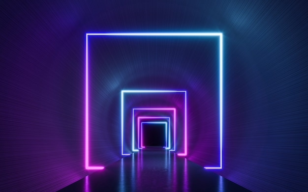 파란색과 보라색 네온 불빛과 함께 미래의 공상 과학 어두운 빈 배경. 3d 렌더링