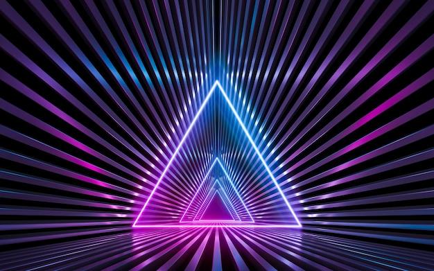 Футуристическая научная фантастика темная пустая стена с синими и фиолетовыми неоновыми огнями. 3d рендеринг