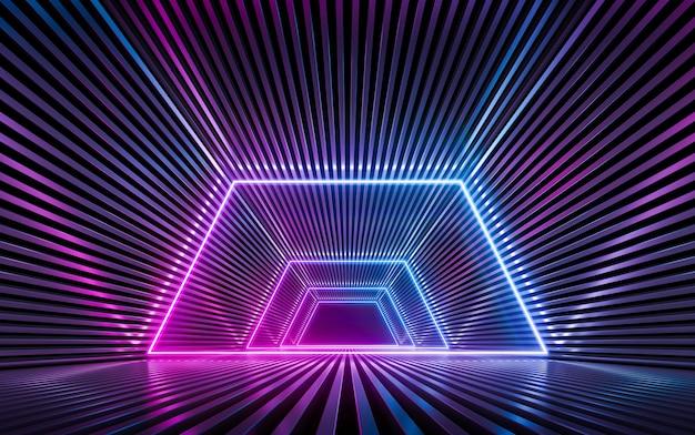 파란색과 보라색 네온 불빛과 함께 미래의 sci fi 어두운 빈 벽. 3d 렌더링