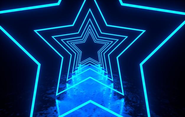 輝くネオン星のある未来的なsfダークルーム