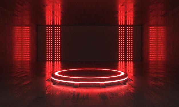 스포트 라이트와 반사 벽이있는 방에 미래 공상 과학 소설 빈 빨간색 무대 네온. 3d 렌더링