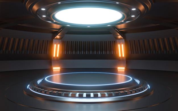 未来のsf空のステージネオン。 3dレンダリング