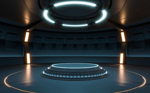 Футуристический неон пустой сцены научной фантастики. 3d рендеринг