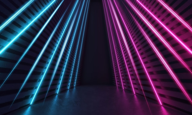 줄무늬 모양의 파란색과 보라색 빛나는 네온 라인이있는 미래의 공상 과학 현대적인 객실입니다. 3d 렌더링