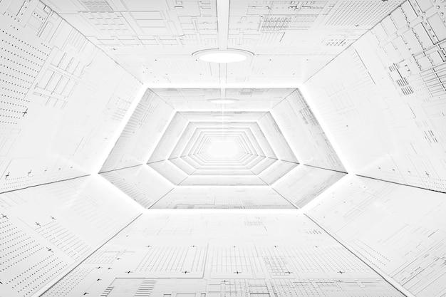 Футуристический интерьер коридора космического корабля научной фантастики с светлыми панелями крайним крупным планом. 3d рендеринг