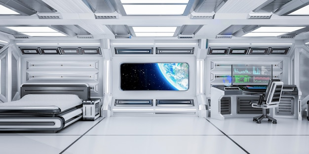 Futuristic science fiction bedroom interior with planet earth view in space station, 3d rendering