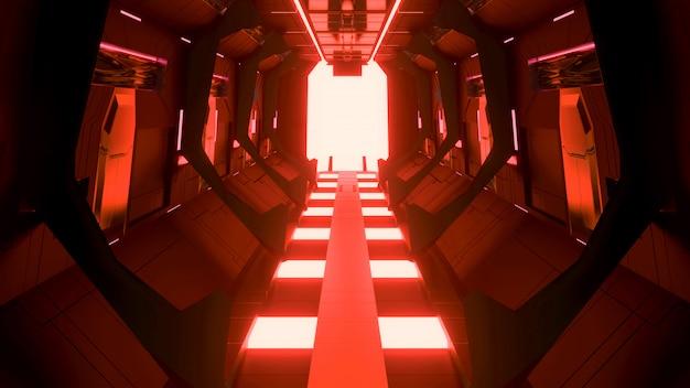 Футуристический научно-фантастический коридор светящегося неонового портала