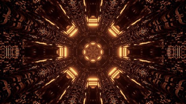 茶色と金色のライトの背景を持つ未来的なサイエンスフィクションの八角形の曼荼羅デザイン