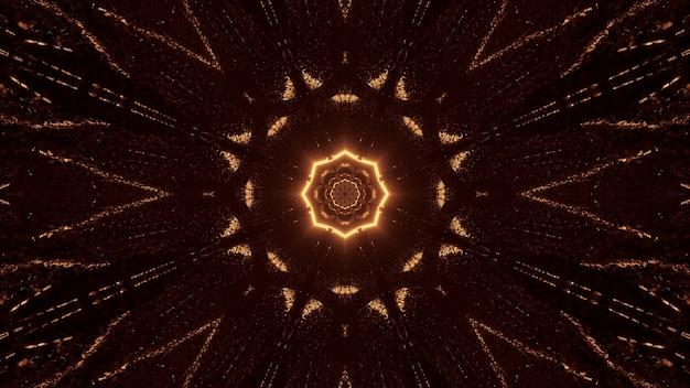 ブラウンとゴールドのライトが付いた未来的なサイエンスフィクションの八角形の曼荼羅のデザイン