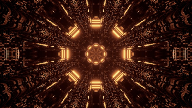 Futuristic science-fiction octagon mandala design with brown and gold lights background