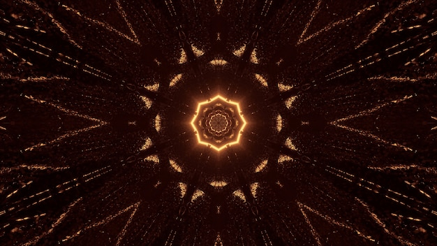 Futuristic science-fiction octagon mandala design with brown and gold lights