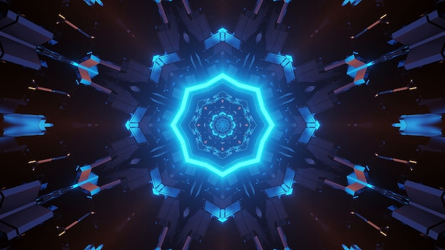 Futuristic science-fiction octagon mandala design with neon blue light