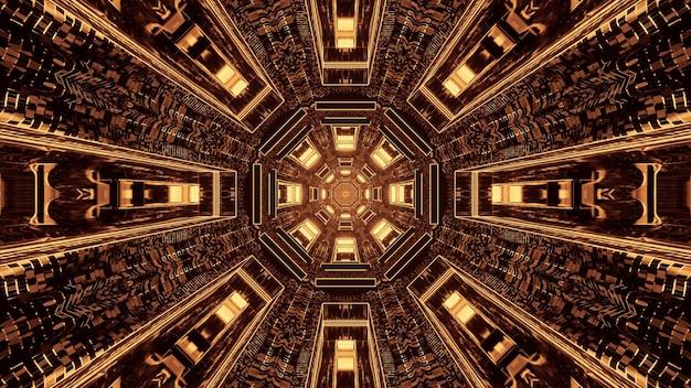 茶色と金色のライトが付いた未来的なサイエンスフィクションの丸いピクセル化されたトンネル回廊