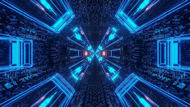 Футуристический научно-фантастический туннельный коридор с линиями и неоновыми синими и красными огнями