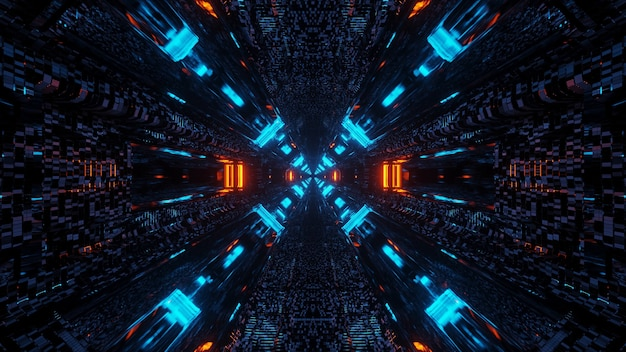 Futuristic science-fiction tunnel corridor with lines and neon blue and red lights