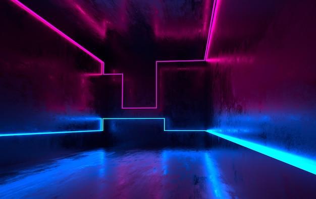 輝くネオンブルーとピンクのネオンライトのある未来的なsfコンクリートの部屋