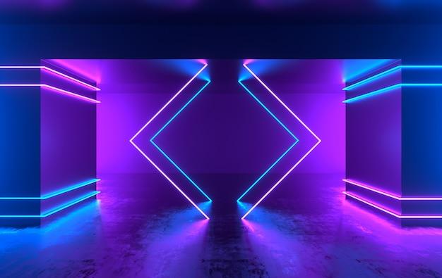 輝くネオンライトのある未来的なsfコンクリートの部屋