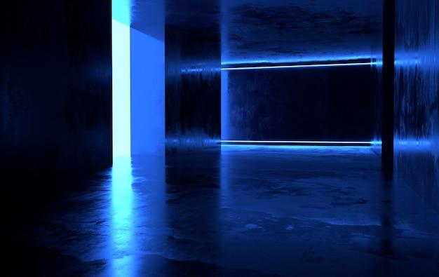 輝くネオンのある未来的なsfコンクリートの部屋バーチャルリアリティポータルコンピュータビデオゲーム活気に満ちた