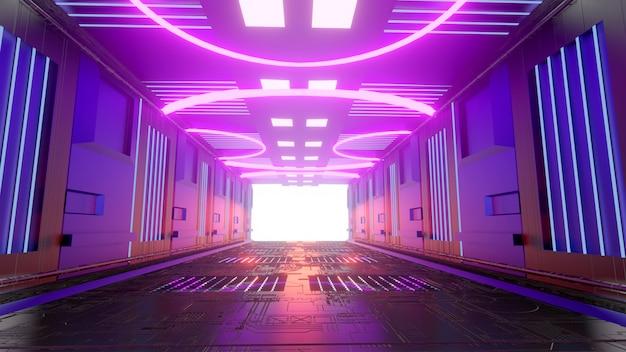 Futuristic scifi corridor pink purple background wallpaper backdrop screen