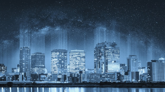 Futuristic smart city at night