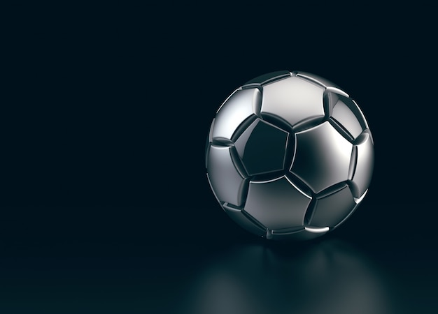 Futuristic soccer ball made of metal on black space