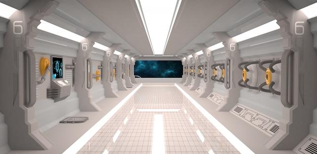 Футуристический интерьер космического корабля с металлическим полом и световыми панелями