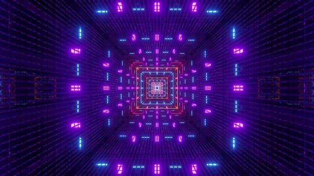 Futuristic square shaped tunnel with symmetric geometric ornament shining with colorful neon lights