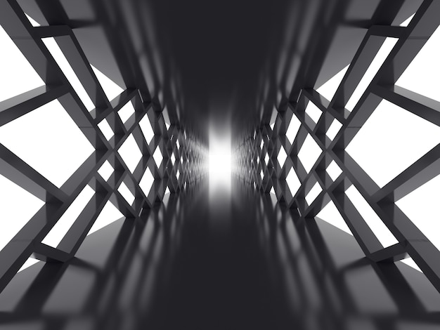 Futuristic surface with dark tunnel