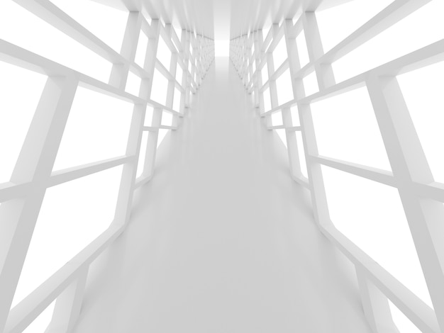 Futuristic surface with white tunnel