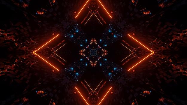 Футуристическая симметрия и отражение абстрактный фон с оранжевыми и синими неоновыми огнями