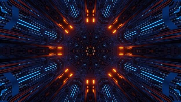 Simmetria futuristica e spazio astratto di riflessione con luci al neon arancioni e blu