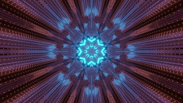 네온 조명에 빛나는 별 모양의 구멍으로 미래의 기술 개념 배경 터널 관점
