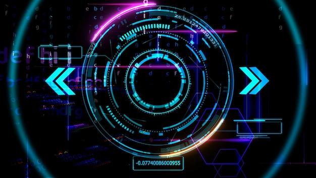 미래 기술 디지털 홀로그램 요소 레이저 글로우 효과 화살표 및 숫자 어둡고 밝은 파란색 톤의 설명 선 테두리 레이더 스캐닝