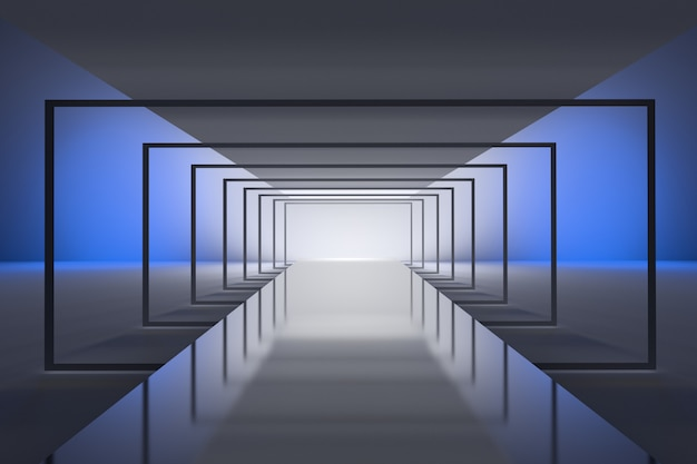 Futuristic tunnel background with perspective effect