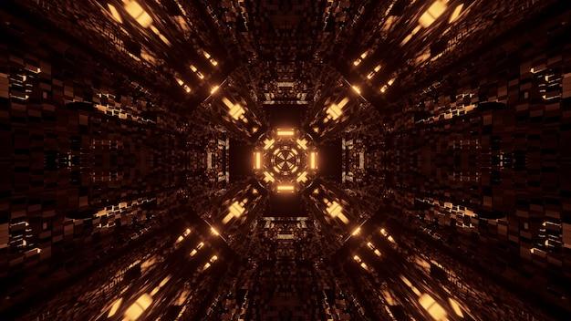 미래형 터널 복도 네온 불빛