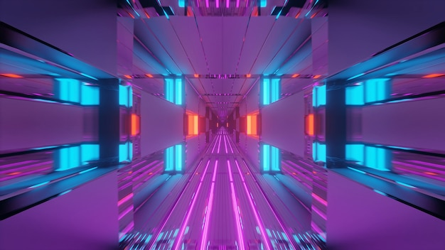 Futuristic tunnel corridor with neon glowing lights, a  3d rendering background wallpaper