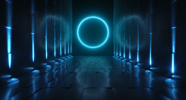 光のある未来的なトンネル、内部の眺め。未来的な背景