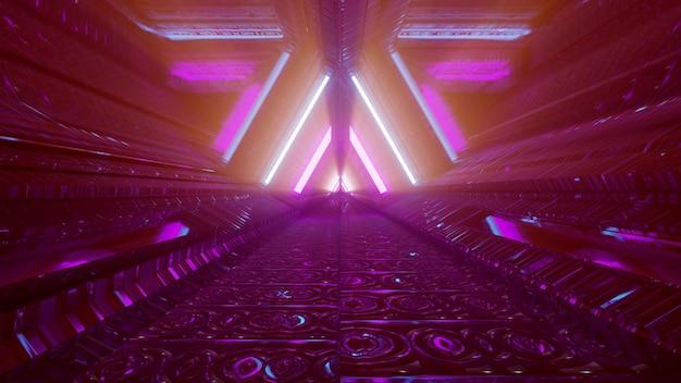 Futuristic underground tunnel with neon lights 4k uhd 3d illustration