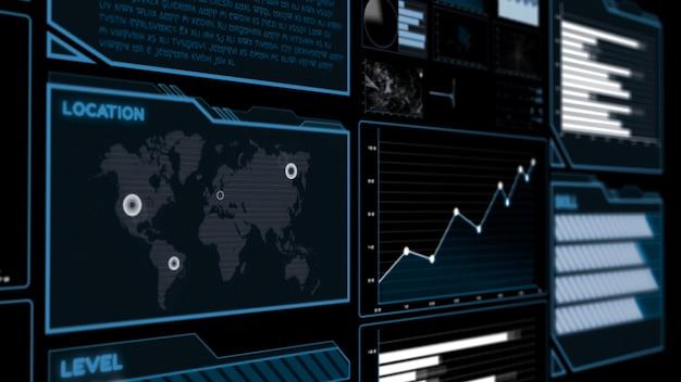 Панель инструментов футуристического пользовательского интерфейса для анализа больших данных в информационной диаграмме Premium Фотографии
