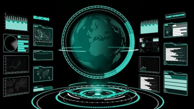 情報チャートで分析するビッグデータのための未来的なユーザーインターフェースダッシュボード