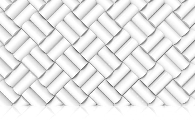 미래의 흰색 실린더 패턴 외관 벽 및 바닥 배경입니다.