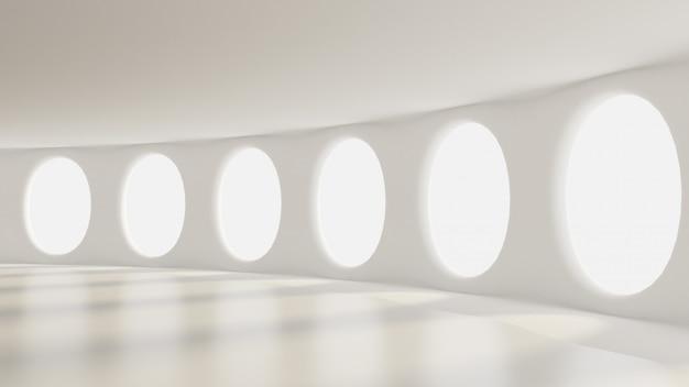 Футуристический белый пустой матовый интерьер. 3d-рендеринг.