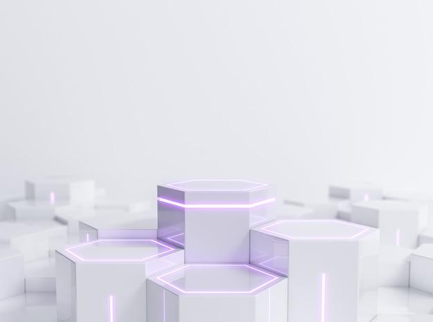Футуристический белый шестиугольный постамент scifi с пурпурным неоновым светом для витрины продукта дисплея