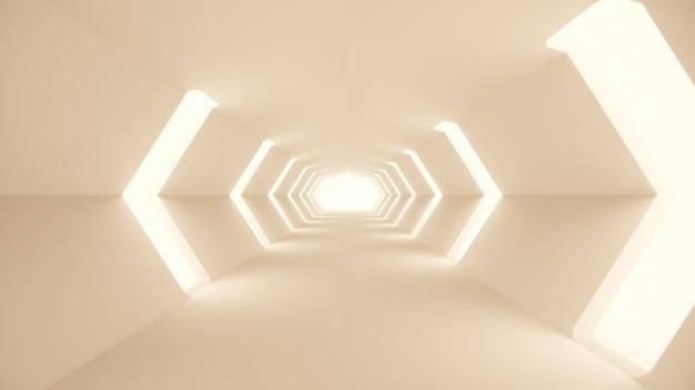 未来的な白いサイファイトンネルインテリア