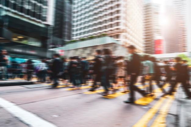 센트럴 홍콩의 퍼지 도시 거리와 보행자