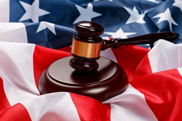 アメリカの国旗の上の小ga