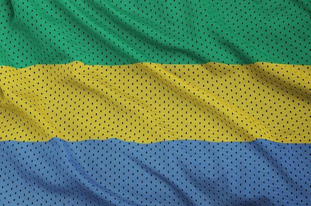 Gabon flag printed on a polyester nylon sportswear mesh fabric